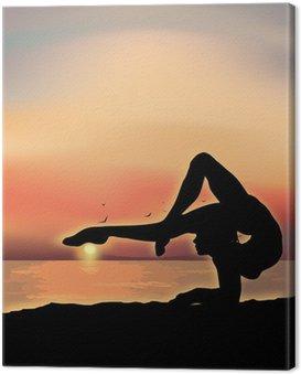 Canvastavla Gymnast utövar nära havet