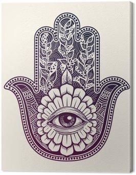 Canvastavla Hamsa. hand Fatima, lycka symbol