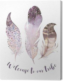 Canvastavla Handritad akvareller vibrerande fjäder set. boho stil