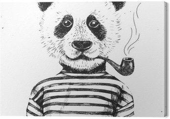 Canvastavla Handritad Illustration av hipster panda
