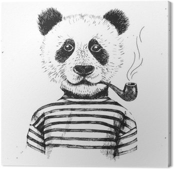 Canvastavla Handritad Illustration av hipster panda