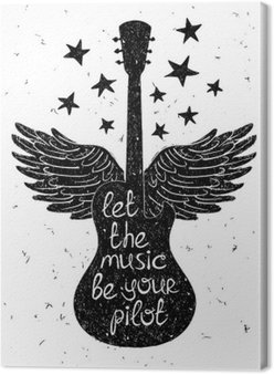 Canvastavla Handritad musikalisk illustration med silhuetter av gitarr.