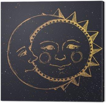 Canvastavla Handritad sol med måne