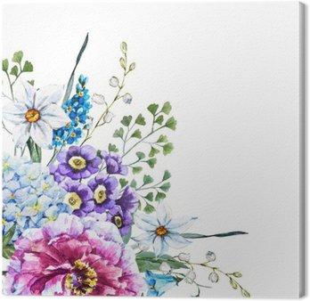 Canvastavla Handritad vattenfärg blommor