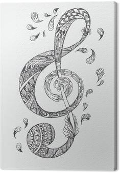 Canvastavla Handritade musik nyckel med etniska prydnader klotter mönster. Vektor illustration Henna Mandala Zentangle stiliserade för bokomslag eller kort, tatuering mer. Design för andlig avkoppling för vuxna.