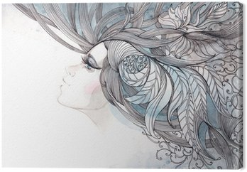 Canvastavla Håret utsmyckade med bladverk