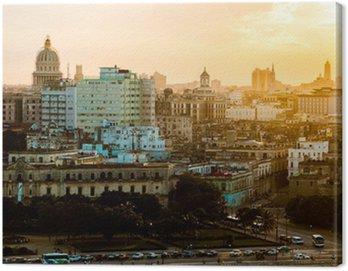 Canvastavla Havana (Habana) i solnedgång, Kuba
