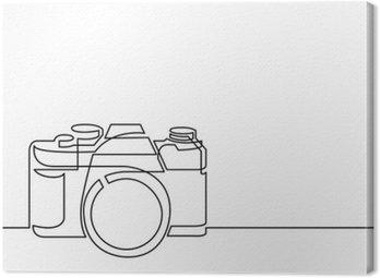 Canvastavla Heldragen linje ritning av retro fotokamera