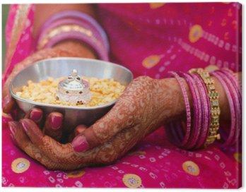 Canvastavla Henna, saree, gifta sig, brud, Rajasthan, Indien