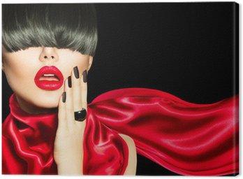Canvastavla High Fashion Girl with Trendig frisyr, smink och manikyr