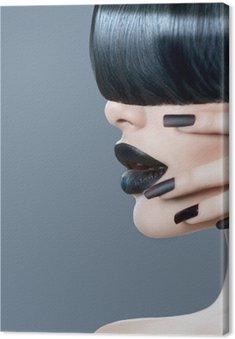 Canvastavla High fashion modell flicka porträtt med trendig frisyr