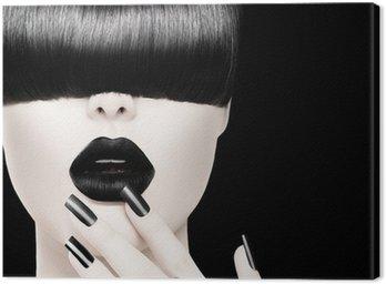Canvastavla High Fashion svartvit modell flicka porträtt