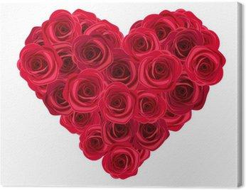 Canvastavla Hjärta av röda rosor. Vector illustration.