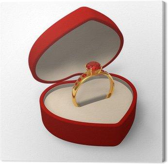 Canvastavla Hjärtformade låda med guldring med juveler