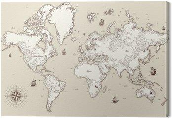 Canvastavla Hög detaljerad, Gamla världskarta med dekorativa element