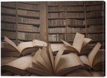Canvastavla Hög med böcker