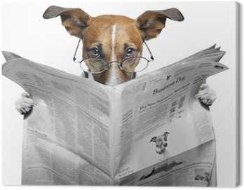 Canvastavla Hund läser en tidning