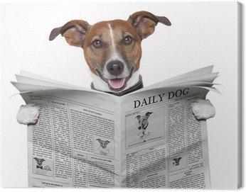 Canvastavla Hund tidningen