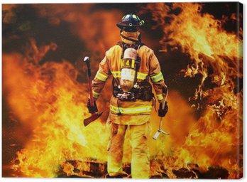 Canvastavla I till branden, söker en brandman för eventuella överlevande