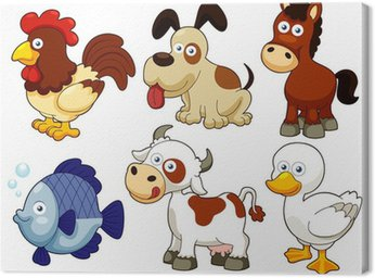 Canvastavla Illustration av husdjur tecknade