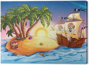 Canvastavla Illustration av Skattkammarön och piratskepp