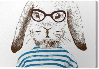 Canvastavla Illustration av utklädd kanin