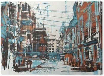 Canvastavla Illustration målning av urban gata med grunge konsistens