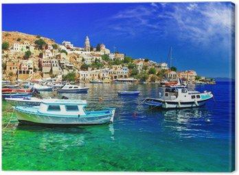 Canvastavla Illustrerad Grekland serie- Symi ön, Dodekaneserna