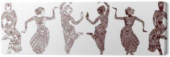 Canvastavla Indiska dansare uppsättning handritade stil mehendi