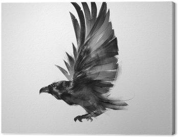 Canvastavla Isolerade grafiskt flygande fågel svart kråka