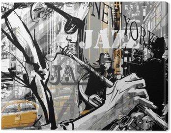 Canvastavla Jazz trumpet spelare i en gata i New York