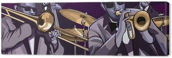 Canvastavla Jazzband med trombonne trumpet kontrabas och trumma