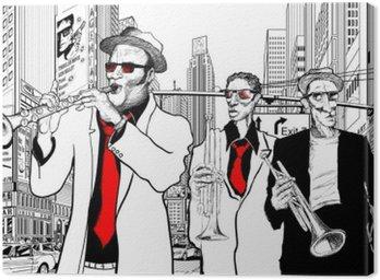Canvastavla Jazzband på en gata i ny-York