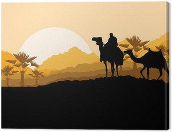 Canvastavla Kamel husvagn i vilda öken fjäll landskap backgroun