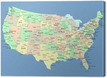 Canvastavla Karta över USA med namn på stater och städer