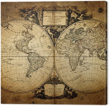 Canvastavla Karta över världen 1752