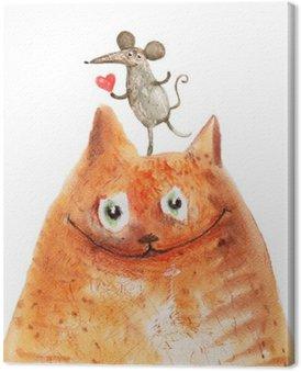 Canvastavla Katt med mause