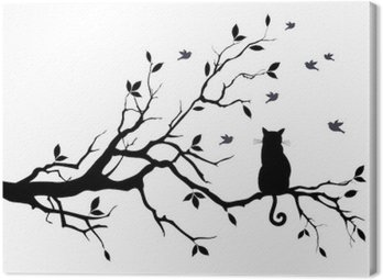 Canvastavla Katt på ett träd med fåglar, vektor