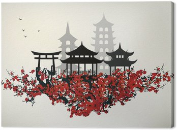 Canvastavla Kina stad