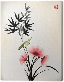 Canvastavla Kinesisk bläck stil blomma fågel ritningen