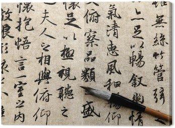 Canvastavla Kinesisk kalligrafi på beige bakgrund