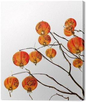 Canvastavla Kinesisk lykta på en vit bakgrund