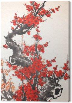 Canvastavla Kinesisk vattenfärg körsbär målning