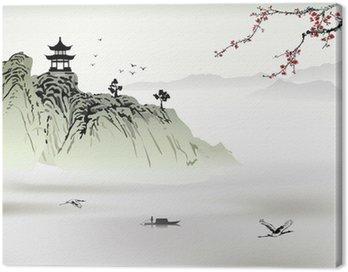 Canvastavla Kinesiska landskap, målning