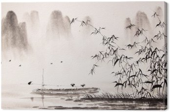Canvastavla Kinesiska landskapet bläck målning