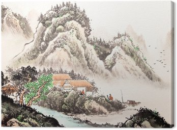 Canvastavla Kinesiska landskapet vattenfärg painting__