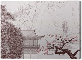 Canvastavla Kinesiska landskapet