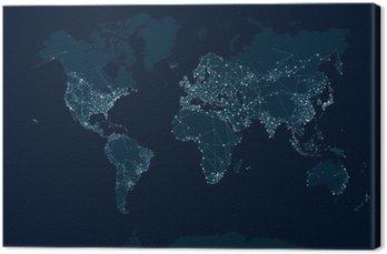 Canvastavla Kommunikationsnät världskarta