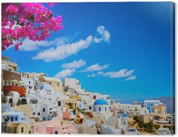 Canvastavla Konst utsikt över Fira staden - Santorini