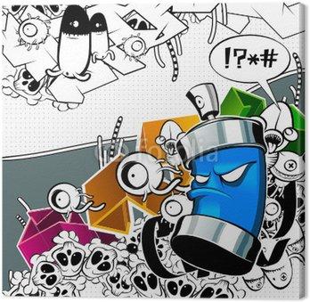 Canvastavla Konstigt graffiti bild med burk